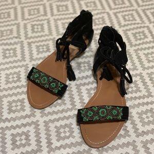 Black suede beaded tassel sandals